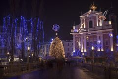 Kolorowy Ljubljana centrum miasta podczas Grudni wakacji Obrazy Royalty Free