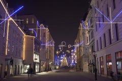 Kolorowy Ljubljana centrum miasta podczas Grudni wakacji Obraz Royalty Free
