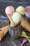 Kolorowy lody w gofra rożku Obrazy Royalty Free