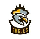 Kolorowy logo, majcher, emblemat orzeł Latający ptak, myśliwy, drapieżnik, niebezpieczny zwierzę, osłona, literowanie Maskotka Obrazy Stock