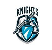 Kolorowy logo, majcher, emblemat rycerz w żelaznym opancerzeniu Rycerz wieki średni, osłona, wojownik, fechmistrz Obrazy Stock