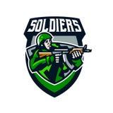 Kolorowy logo, odznaka, emblemat żołnierz strzelanina od submachine pistoletu Żołnierz w mundurze, hełm, maszynowy pistolet Fotografia Stock