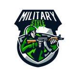 Kolorowy logo, odznaka, emblemat żołnierz strzelanina od submachine pistoletu Żołnierz w mundurze, hełm, maszynowy pistolet Obrazy Royalty Free