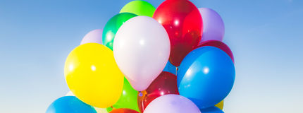 Kolorowy Lotniczych balonów sztandar Obrazy Stock
