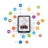 Kolorowy Mądrze miasto projekta pojęcie z ikonami Reprezentuje Różnorodnych IoT przyrząda i Konsumpcyjne usługa - Cyfrowej sieci  Zdjęcie Royalty Free
