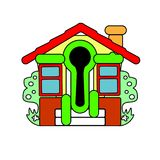 Kolorowy mały dom sprzedaż wektor Abstrakci powitanie Obraz Stock