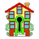 Kolorowy mały dom sprzedaż wektor Abstrakci powitanie Obrazy Royalty Free