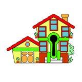 Kolorowy mały dom sprzedaż wektor Abstrakci powitanie Zdjęcia Stock
