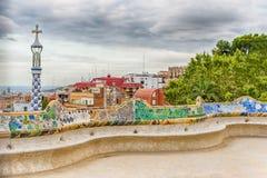 Kolorowy magistrala taras Parkowy Guell, Barcelona, Catalonia, Hiszpania zdjęcie stock