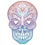 Kolorowy meksykański dekoracyjny czaszka tatuaż ilustracja wektor