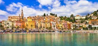 Kolorowy Menton - południowy Francja obraz stock