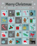 Kolorowy Mery Chistmas adwentu kalendarz Śliczni boże narodzenia, zima, nowego roku 25 ikony z liczbami i symbole, i Prosta płask ilustracja wektor