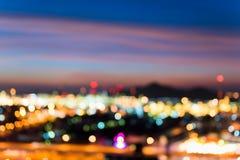 Kolorowy miast światła i iluminujący bokeh, Zamazany abstrakt Fotografia Royalty Free