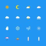 Kolorowy mieszkanie pogody ikony set Zdjęcia Stock