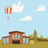 Kolorowy Mieszkaniowy dom z drzewami Dom na wsi scenerii tła wektoru ilustracja Obrazy Royalty Free