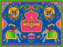 Kolorowy mile widziany sztandar w ciężarowym sztuka kicza stylu India ilustracji