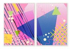 Kolorowy modny Neo Memphis geometryczny plakat Nowożytny abstrakcjonistyczny projekta plakat, pokrywa, karciany projekt Zdjęcia Stock