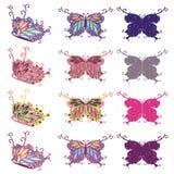 kolorowy motyla set Zdjęcia Royalty Free
