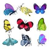 Kolorowy motyla set, piękne latających insektów wektoru ilustracje na białym tle ilustracja wektor