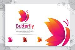 Kolorowy motyli wektorowy logo projekt z nowożytnym stylem, ilustracyjny abstrakt motyl dla cyfrowego kreatywnie szablonu, i ilustracja wektor