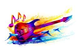 Kolorowy muzyczny tło z akustyczną gitarą elektryczną i latającymi ptakami Zdjęcie Royalty Free
