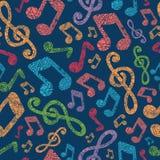 Kolorowy muzykalnych notatek bezszwowy deseniowy tło Obrazy Stock