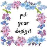 Kolorowy myosotis Kwiecisty botaniczny kwiat Ramowy rabatowy ornamentu kwadrat ilustracji