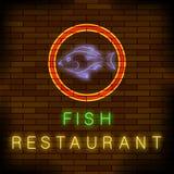 Kolorowy Neonowy Rybi restauracja znak Zdjęcia Stock