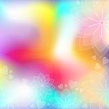 Kolorowy nowożytny tło z sercami i kwiatami Fotografia Stock