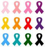 Kolorowy nowotworów piersi faborków ikony set royalty ilustracja