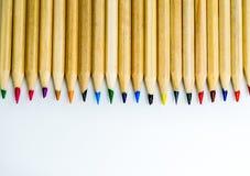 Kolorowy ołówka bielu tło Obraz Stock