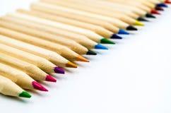 Kolorowy ołówka bielu tło Zdjęcia Royalty Free