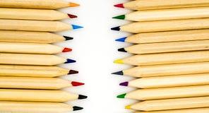 Kolorowy ołówka bielu tło Zdjęcie Stock