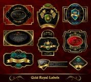 kolorowy obramiający złoto przylepiać etykietkę set Obrazy Royalty Free