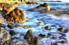 Kolorowy obraz Adriatycki denny wybrzeże przy zmierzchem obrazy stock