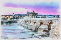 Kolorowy obraz Katedralny Mezquita i rzymianina most przy zmierzchem Obrazy Stock