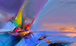 Kolorowy obraz olejny na brezentowej teksturze Semi- abstrakcjonistyczny wizerunek seascape obrazy z światła słonecznego tłem Fotografia Royalty Free