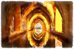 Kolorowy obraz skąpania Dama Maria De Padikka Alcazar Hiszpania Zdjęcia Royalty Free