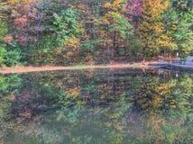 Kolorowy odbicie basen w jesieni Obrazy Royalty Free