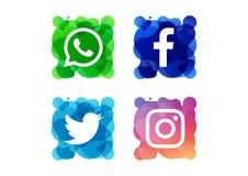 Kolorowy ogólnospołeczny medialny ikona guzik fotografia royalty free