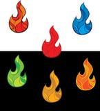 kolorowy ogień płonie set Obrazy Royalty Free