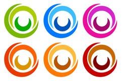 Kolorowy okręgu logo, ikona szablony koncentryczny członujący circl royalty ilustracja