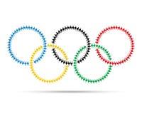 Kolorowy olimpijski emblemat robić z ludźmi ikona piktografu Obraz Stock