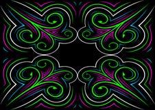 Kolorowy ornament na czarnym tle Zdjęcia Stock