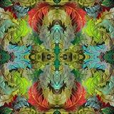 Kolorowy ornamentacyjny kwiecisty Barokowy wektorowy bezszwowy wzór Jaskrawy obfitolistny ulistnienia tło Powtórka antyka tło luz ilustracji