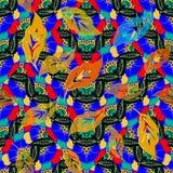 Kolorowy ornamentacyjny kwiecisty bezszwowy wzór Wektorowy jaskrawy wzorzysty obfitolistny tło r ethnic ilustracja wektor