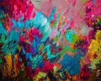 Kolorowy oryginalny abstrakcjonistyczny obraz olejny, tło Fotografia Royalty Free