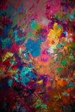 Kolorowy oryginalny abstrakcjonistyczny obraz olejny, tło Zdjęcie Stock