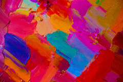 Kolorowy oryginalny abstrakcjonistyczny obraz olejny, tło Obraz Royalty Free