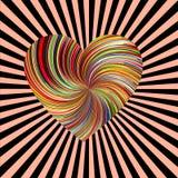 Kolorowy osnowowy serce po środku słońce szyków wybuchu wzoru ilustracji